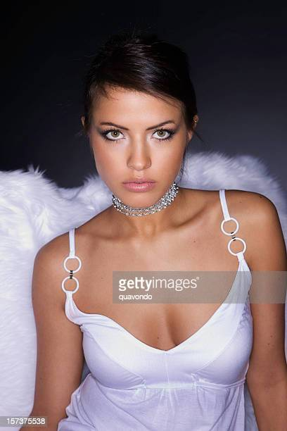 Angelic, Beautiful Brunette Fashion Model in Sexy White Dress