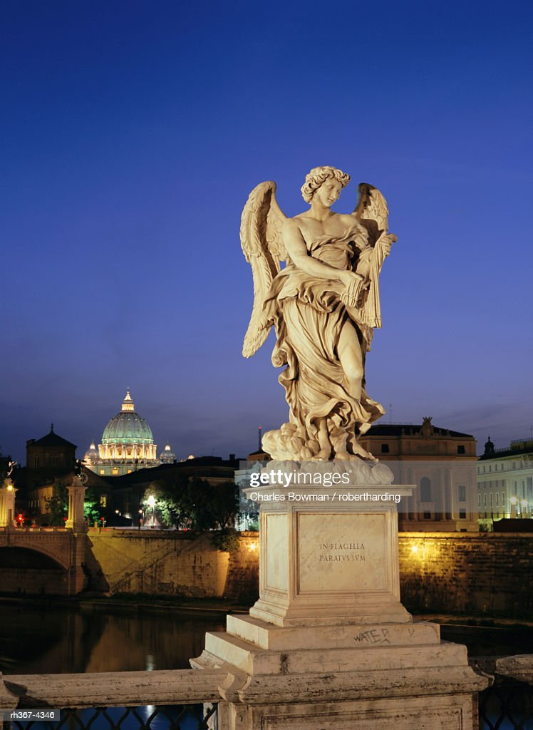 Angelic statue on Ponte Sant Angelo, St. Peter's, Vatican, Rome, Italy : Stock Photo
