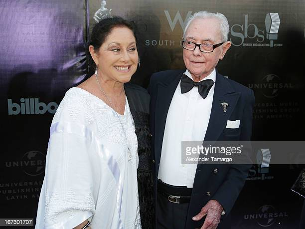 Angelica Aragon and Jose Angel Espinoza Ferrusquilla arrive at Latin Songwriters Hall of Fame Gala at New World Center on April 23 2013 in Miami...