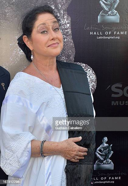 Angelica Aragon arrives at Latin Songwriters Hall of Fame Gala at New World Center on April 23 2013 in Miami Beach Florida