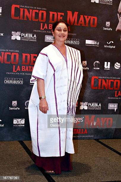Angelica Aragon poses for a photo during the presentation of the film Cinco de Mayo La Batalla on April 29 2013 in Mexico City Mexico