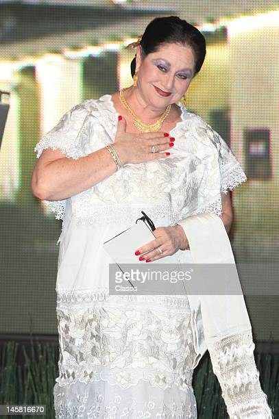 Angelica Aragon poses for a picture at the inauguration of the new forums Azteca Novelas on June 5 2012 in Mexico City Mexico