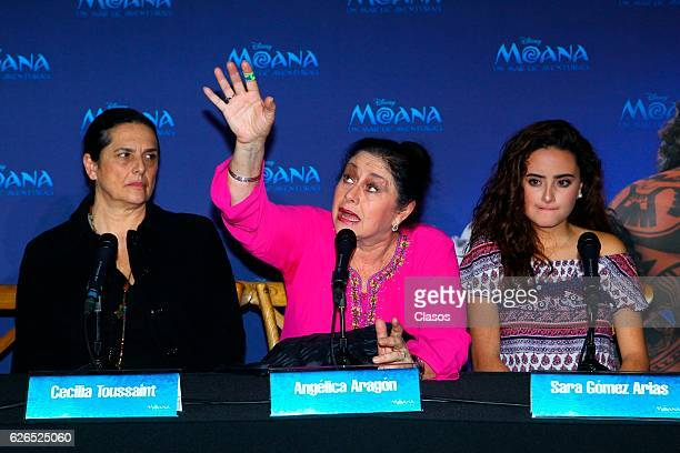 Angelica Aragon talks during a press conference of the new Disney's movie 'Moana on November 28 2016 in Mexico City Mexico