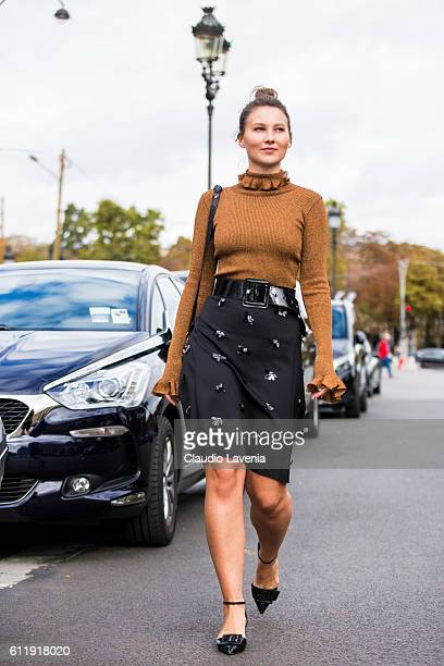 Angelica Ardasheva after the Mugler show on day 5 of Paris Womens Fashion Week Spring/Summer 2017Êon September 30 2016 in Paris France