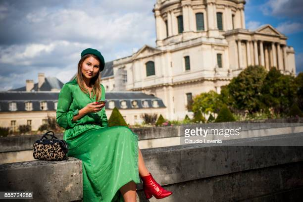Angelica Ardasheva is seen after the Nina Ricci show at the Hotel National des Invalides during Paris Fashion Week Womenswear SS18 on September 29...