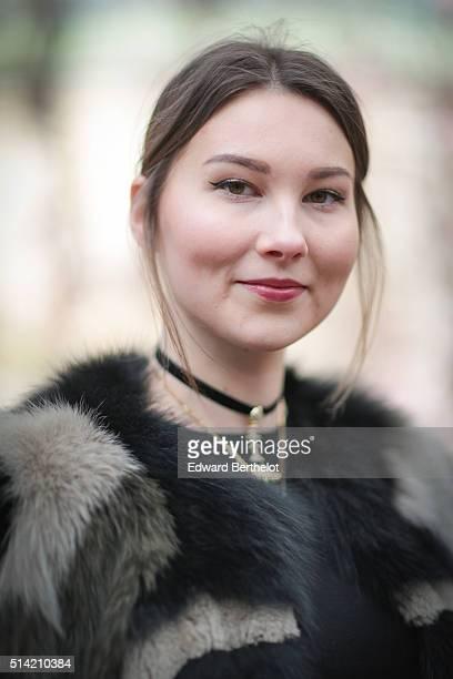 Angelica Ardasheva is wearing an Ita Kli coat a Zara top and a Nathalie Trad bag after the Giambattista Valli show during Paris Fashion Week...