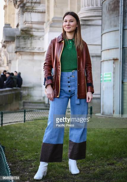 Angelica Ardasheva on the street during the Paris Fashion Week