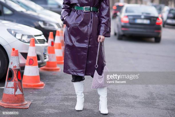 Angelica Ardasheva poses after the Undercover show at the Preau Dutuit during Paris Fashion Week Womenswear FW 18/19 on March 2 2018 in Paris France
