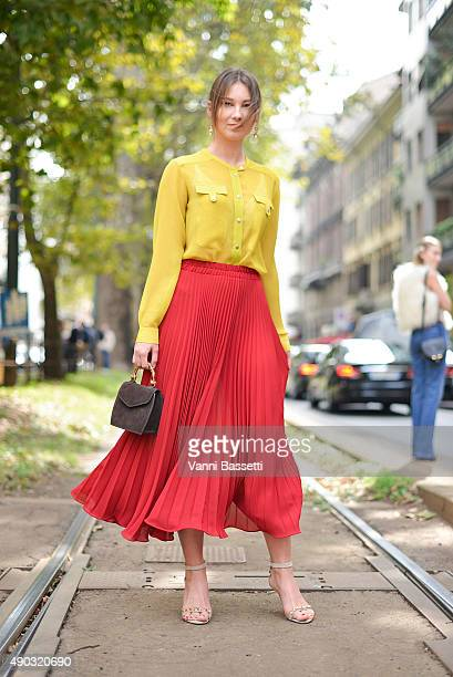 Angelica Ardasheva poses before the Dolce and Gabbana show during the Milan Fashion Week Spring/Summer 16 on September 27 2015 in Milan Italy