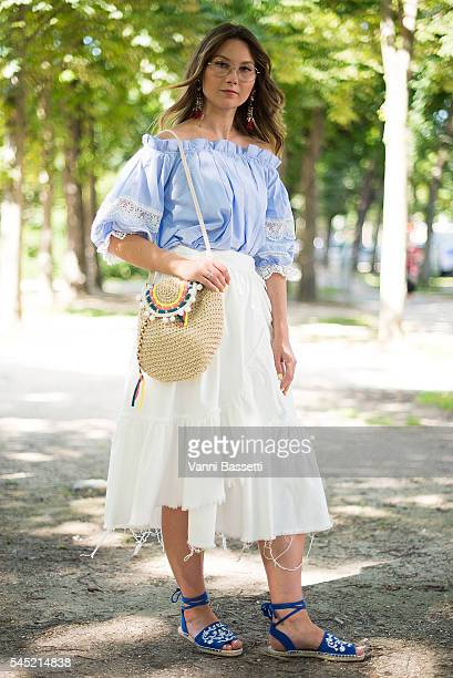 Angelica Ardasheva poses before the Zuhair Murad show at the Grand Palais during Paris Fashion Week Haute Couture FW 16/17 on July 6 2016 in Paris...