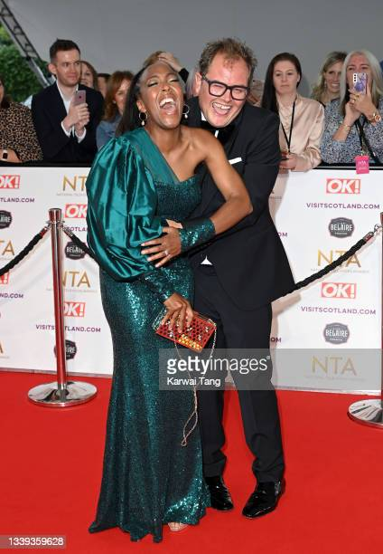Angelica Bell and Alan Carr attend the National Television Awards 2021 at The O2 Arena on September 09, 2021 in London, England.