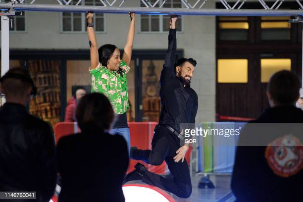 Angelica Bell and Rylan Clark-Neal seen presenting the One Show at BBC TV studios on May 03, 2019 in London, England.