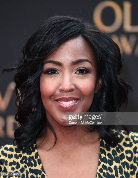 Angelica Bell attends The Olivier Awards 2019 with MasterCard at the Royal Albert Hall on April 07, 2019 in London, England.