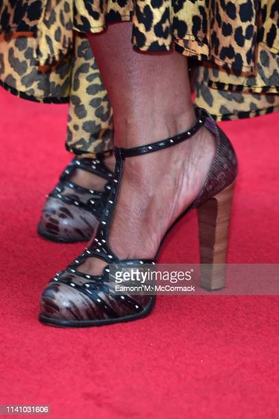 Angelica Bell shoe detail attends The Olivier Awards 2019 with MasterCard at the Royal Albert Hall on April 07 2019 in London England