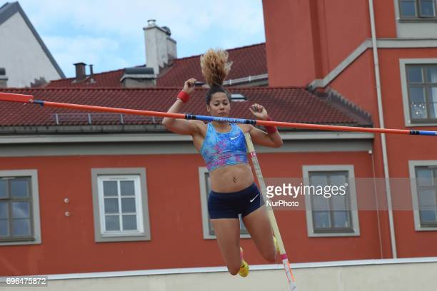 Angelica Bengtsson compete in the pole vault during the Oslo IAAF Diamond League 2017 at the Bislett Stadium on June 15 2017 in Oslo Norway