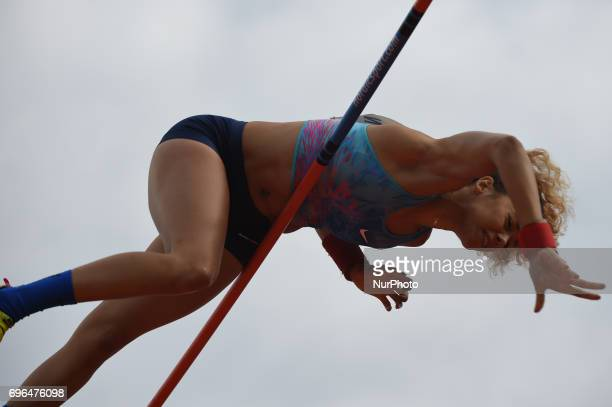 Angelica Bengtsson compete in the pool vault during the Oslo IAAF Diamond League 2017 at the Bislett Stadium on June 15 2017 in Oslo Norway