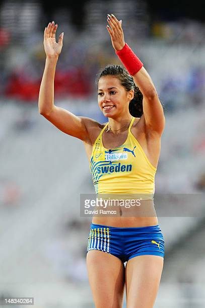 Angelica Bengtsson of Sweden celebrates after winning the gold medal on the on the Women's Pole Vault Final on the day five of the 14th IAAF World...