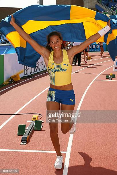 Angelica Bengtsson of Sweden celebrates finishing first in the Women's Pole Vault event on day six of the 13th IAAF World Junior Championships at the...