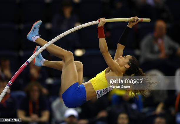 Angelica Bengtsson of Sweden competes during the Womens Pole Vault during the 2019 European Athletics Indoor Championships Day Two at the Emirates...
