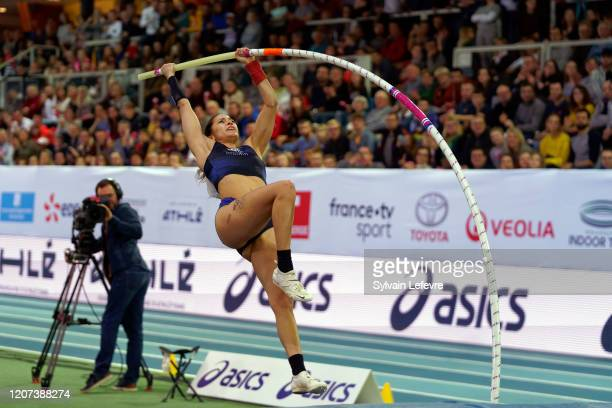 Angelica Bengtsson of Sweden competes during the Women's Pole Vault Final during the World Athletics Indoor Tour In Lievin on February 19 2020 in...