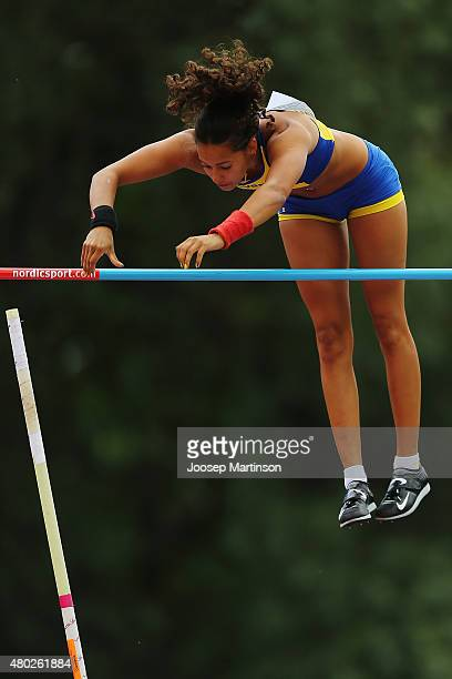 Angelica Bengtsson of Sweden competes during Women's Pole Vault on day two of the European Athletics U23 Championships at Kadriorg Stadium on July 9...