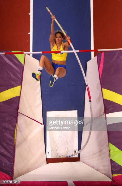 Angelica Bengtsson of Sweden competes in the Pole Vault Womens Final during the IAAF World Indoor Championships on Day Three at Arena Birmingham on...