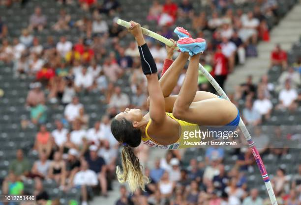 Angelica Bengtsson of Sweden competes in the Women's Pole Vault qualification during day one of the 24th European Athletics Championships at...