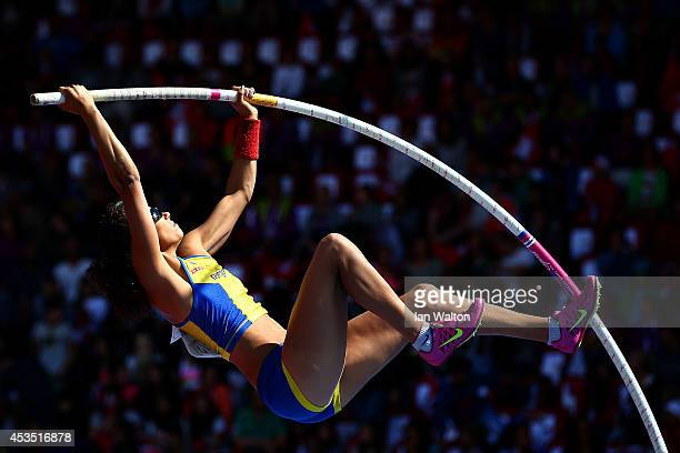 Angelica Bengtsson of Sweden competes in the Women's Pole Vault qualification during day one of the 22nd European Athletics Championships at Stadium...