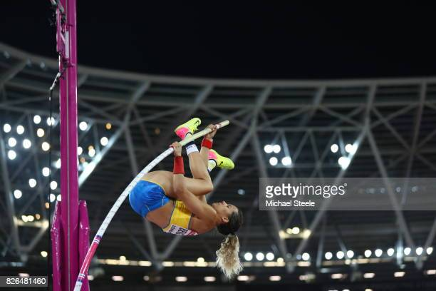 Angelica Bengtsson of Sweden competes in the Women's Pole Vault qualification during day one of the 16th IAAF World Athletics Championships London...