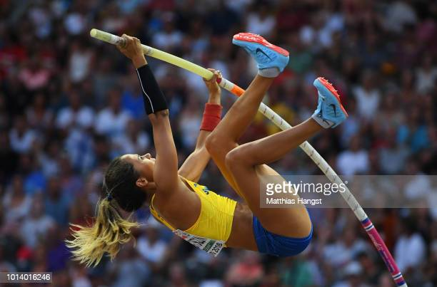 Angelica Bengtsson of Sweden competes in the Women's Pole Vault Final during day three of the 24th European Athletics Championships at Olympiastadion...