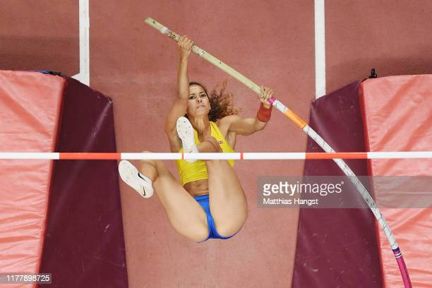 Angelica Bengtsson of Sweden competes in the Women's Pole Vault final during day three of 17th IAAF World Athletics Championships Doha 2019 at...