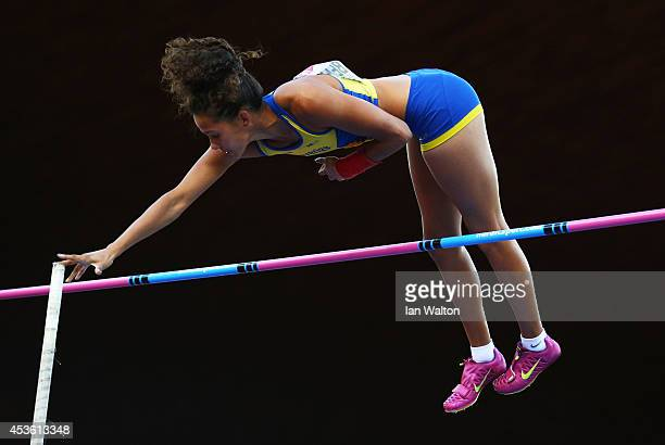 Angelica Bengtsson of Sweden competes in the Women's Pole Vault final during day three of the 22nd European Athletics Championships at Stadium...