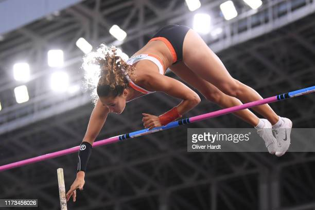 Angelica Bengtsson of Sweden competes in Women Pole Vault on Day 1 of The Match Europe v USA Minsk 2019 at Dinamo Stadium on September 09 2019 in...