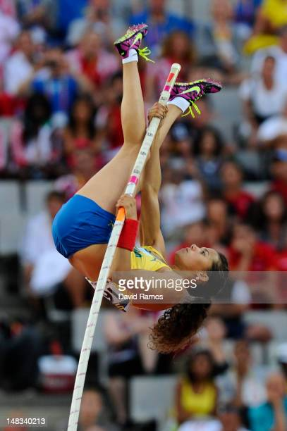 Angelica Bengtsson of Sweden competes to win the gold medal on the on the Women's Pole Vault Final on the day five of the 14th IAAF World Junior...