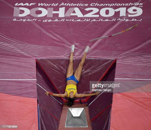 Angelica Bengtsson of Sweden falls as she competes in the women's pole vault final during day three of 17th IAAF World Athletics Championships Doha...