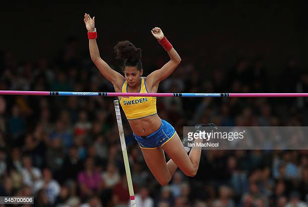 Angelica Bengtsson of Sweden in action during the final of the womens pole vault on day four of The 23rd European Athletics Championships at Olympic...