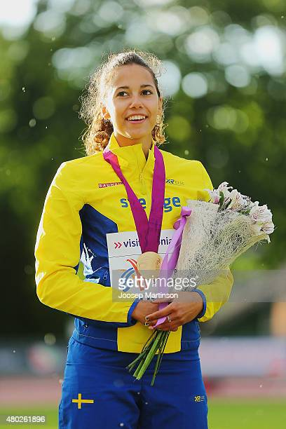 Angelica Bengtsson of Sweden looks on after winning the Women's Pole Vault on day two of the European Athletics U23 Championships at Kadriorg Stadium...