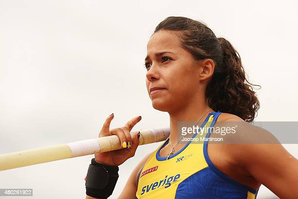 Angelica Bengtsson of Sweden looks on during Women's Pole Vault on day two of the European Athletics U23 Championships at Kadriorg Stadium on July 9...