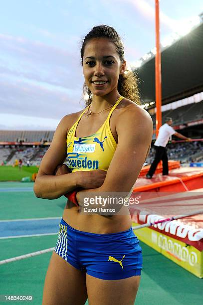 Angelica Bengtsson of Sweden poses after winning the gold medal on the on the Women's Pole Vault Final on the day five of the 14th IAAF World Junior...