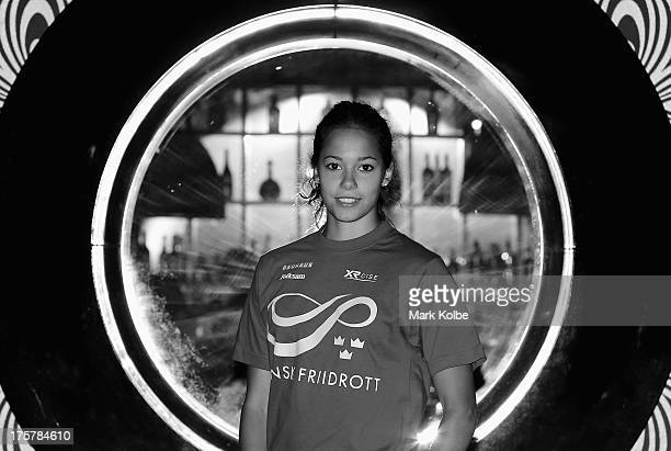 Angelica Bengtsson of Sweden poses during the Swedish team media session at the Kalina Bar on August 8 2013 in Moscow Russia