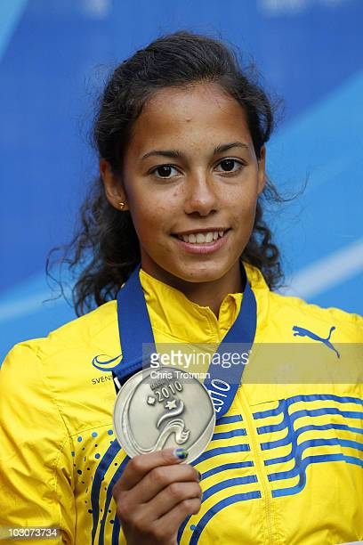 Angelica Bengtsson of Sweden poses with her gold medal after winning the Women's Pole Vault Final on day six of the 13th IAAF World Junior...