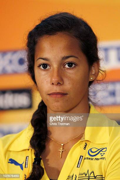 Angelica Bengtsson of Sweden speaks with the media at a press conference before the start of the 13th IAAF World Junior Championships on July 19 2010...