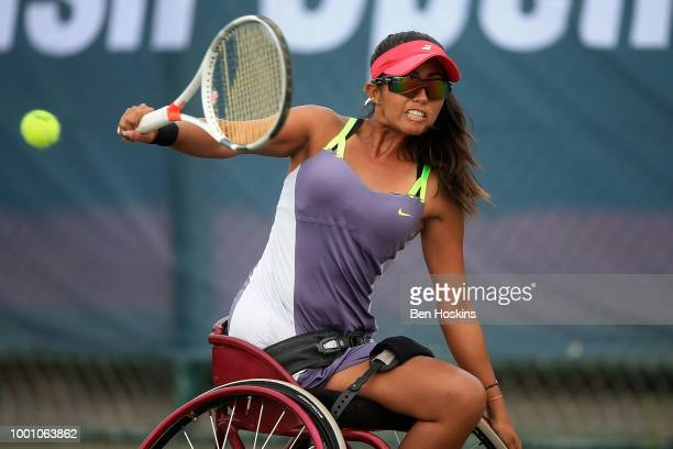 Angelica Bernal of Columbia plays a backhand during her match against Natalia Mayara of Brazil on day two of The British Open Wheelchair Tennis...