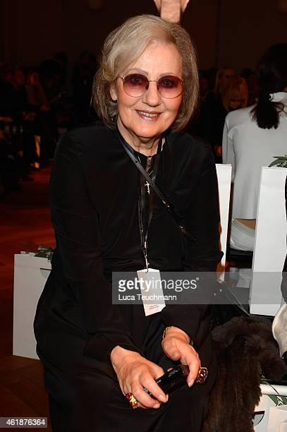 Angelica Blechschmidt attends the Dorothee Schumacher show during the MercedesBenz Fashion Week Berlin Autumn/Winter 2015/16 at Villa Elisabeth on...