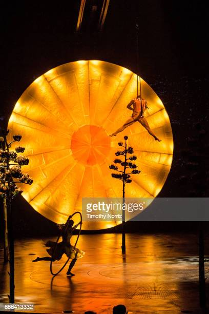 Angelica Bongiovonni and Enya White perform during dress rehearsal for Cirque du Soleil's 'Luzia' at Dodger Stadium on December 7 2017 in Los Angeles...