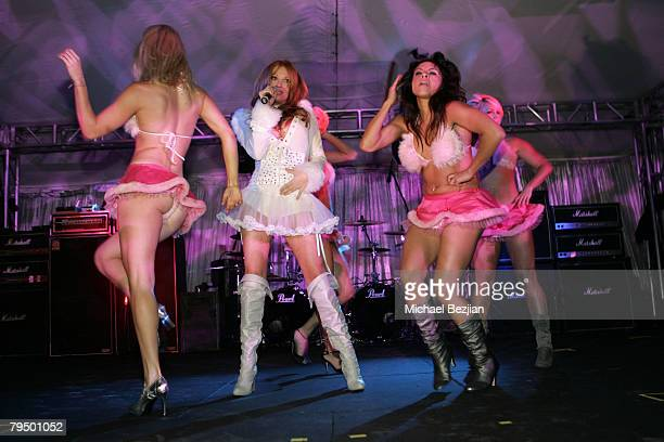 Angelica Bridges and the Strawberry Blondes perform at the Playboy Mansion Super Bowl Party on February 3 2008 in Los Angeles California