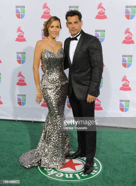 Angelica Castro and actor Cristian de la Fuente arrive at the 13th annual Latin GRAMMY Awards held at the Mandalay Bay Events Center on November 15...