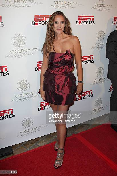 Angelica Castro arrives at the ESPN Deportes and Viceroy Miami Party to welcome the Latino owners of the Miami Dolphins event at Club 50 at Viceroy...
