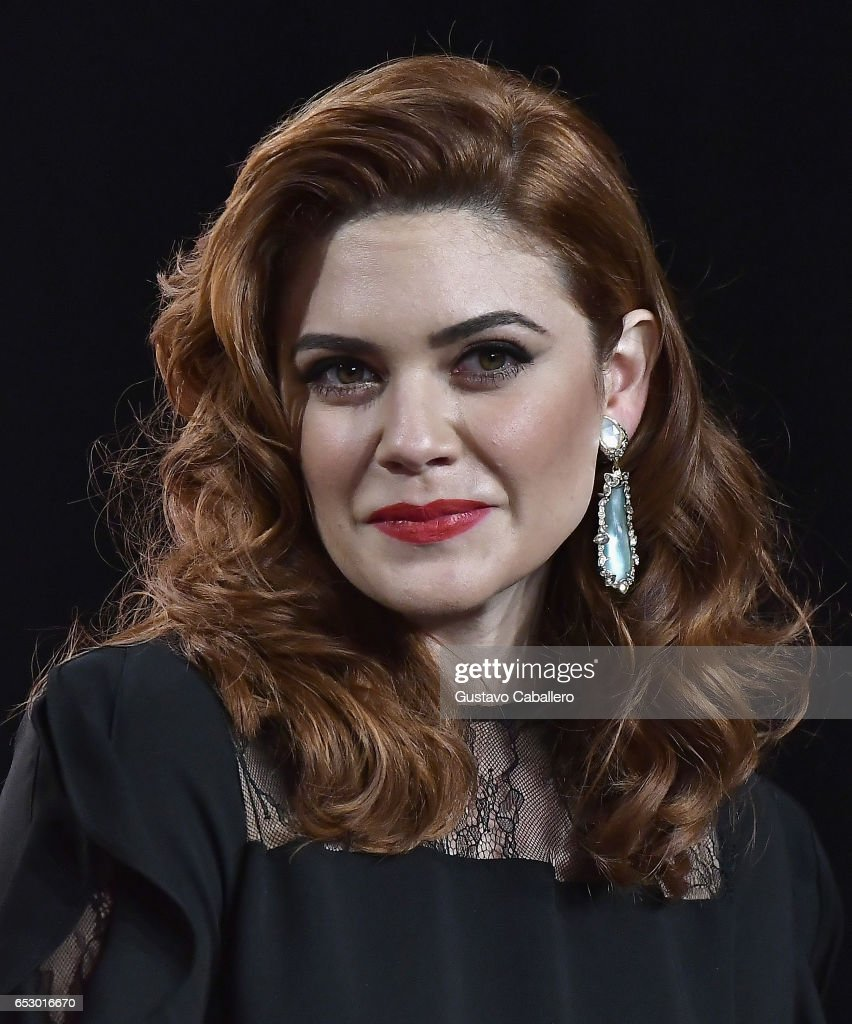 Angelica Celaya is seen at the introduction of the cast of 'Jenni Rivera: Mariposa de Barrio' at Telemundo Studios on March 13, 2017 in Miami, Florida.