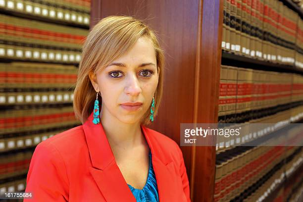 Angelica Chavis a member of the Lumbee Tribe of North Carolina poses at the Campbell University Law School where she is a 3rdyear law student in...